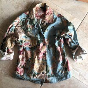 Romantic vintage tapestry denim jean jacket